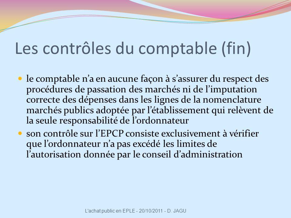 Les contrôles du comptable (fin) le comptable na en aucune façon à sassurer du respect des procédures de passation des marchés ni de limputation corre