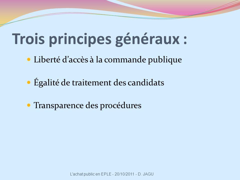 Trois principes généraux : Liberté daccès à la commande publique Égalité de traitement des candidats Transparence des procédures L'achat public en EPL
