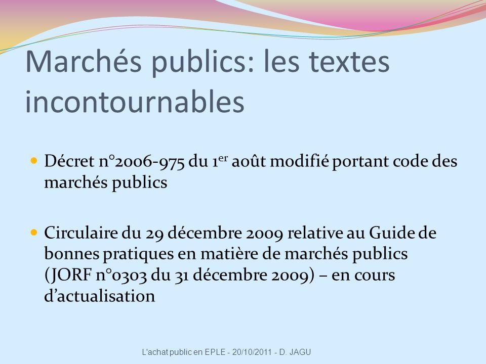 Marchés publics: les textes incontournables Décret n°2006-975 du 1 er août modifié portant code des marchés publics Circulaire du 29 décembre 2009 rel