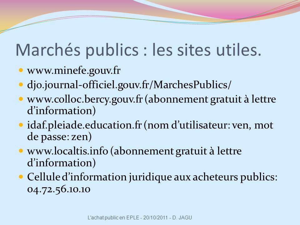Marchés publics : les sites utiles. www.minefe.gouv.fr djo.journal-officiel.gouv.fr/MarchesPublics/ www.colloc.bercy.gouv.fr (abonnement gratuit à let
