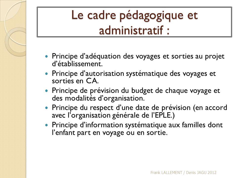 Le cadre pédagogique et administratif : Principe dadéquation des voyages et sorties au projet détablissement. Principe dautorisation systématique des