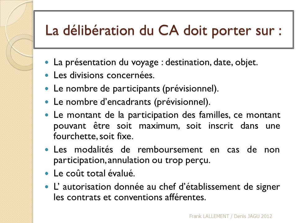 La délibération du CA doit porter sur : La présentation du voyage : destination, date, objet. Les divisions concernées. Le nombre de participants (pré