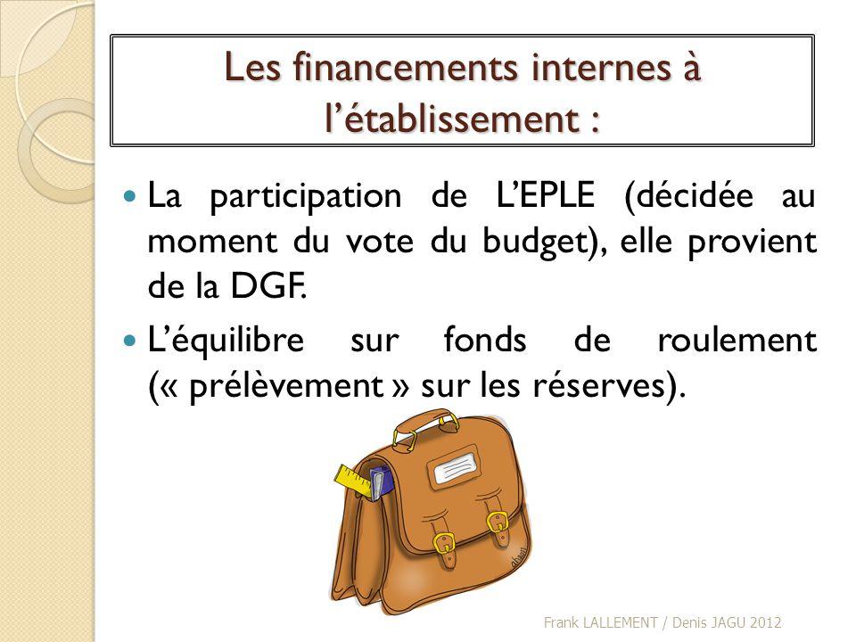 Les financements internes à létablissement : La participation de LEPLE (décidée au moment du vote du budget), elle provient de la DGF. Léquilibre sur