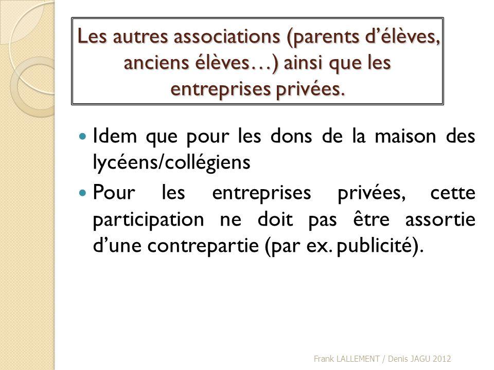 Les autres associations (parents délèves, anciens élèves…) ainsi que les entreprises privées. Idem que pour les dons de la maison des lycéens/collégie