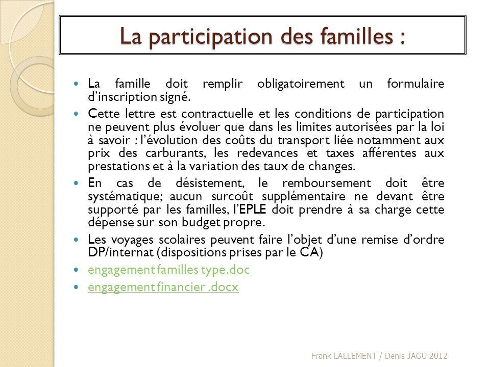 La participation des familles : La famille doit remplir obligatoirement un formulaire dinscription signé. Cette lettre est contractuelle et les condit