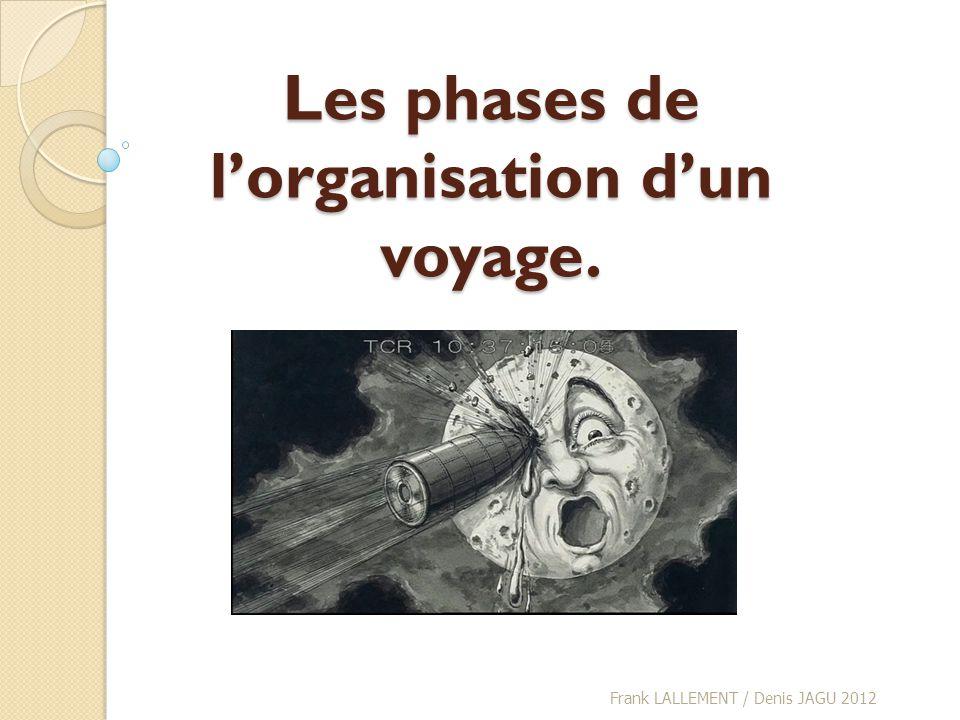 Les phases de lorganisation dun voyage. Frank LALLEMENT / Denis JAGU 2012