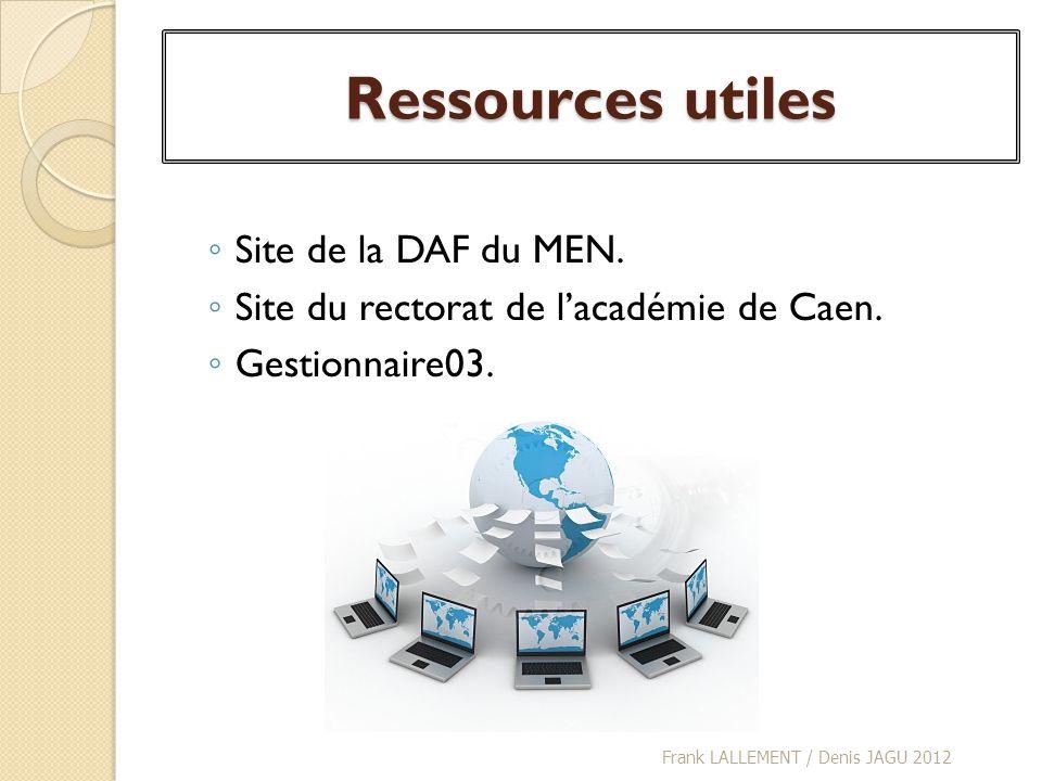 Ressources utiles Site de la DAF du MEN. Site du rectorat de lacadémie de Caen. Gestionnaire03. Frank LALLEMENT / Denis JAGU 2012