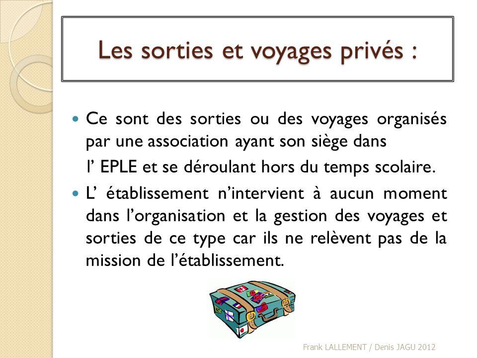 Les sorties et voyages privés : Ce sont des sorties ou des voyages organisés par une association ayant son siège dans l EPLE et se déroulant hors du t