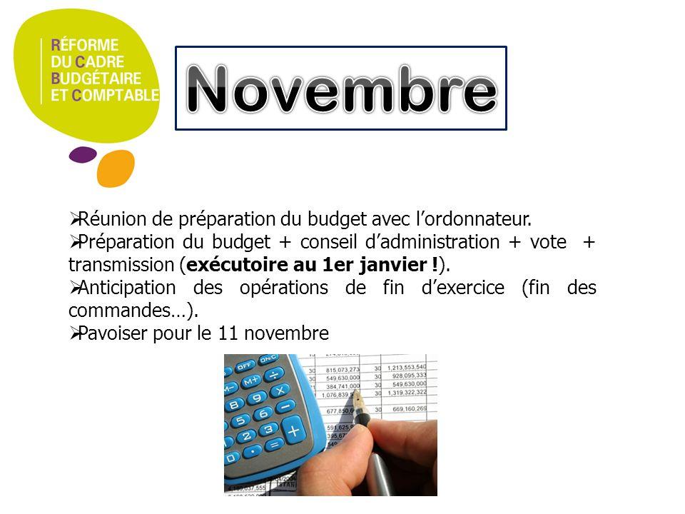 Préparation des éléments pour le budget N+1. État des crédits. Droits constatés (1er trimestre). Préparation de la dernière DBM (décision budgétaire m