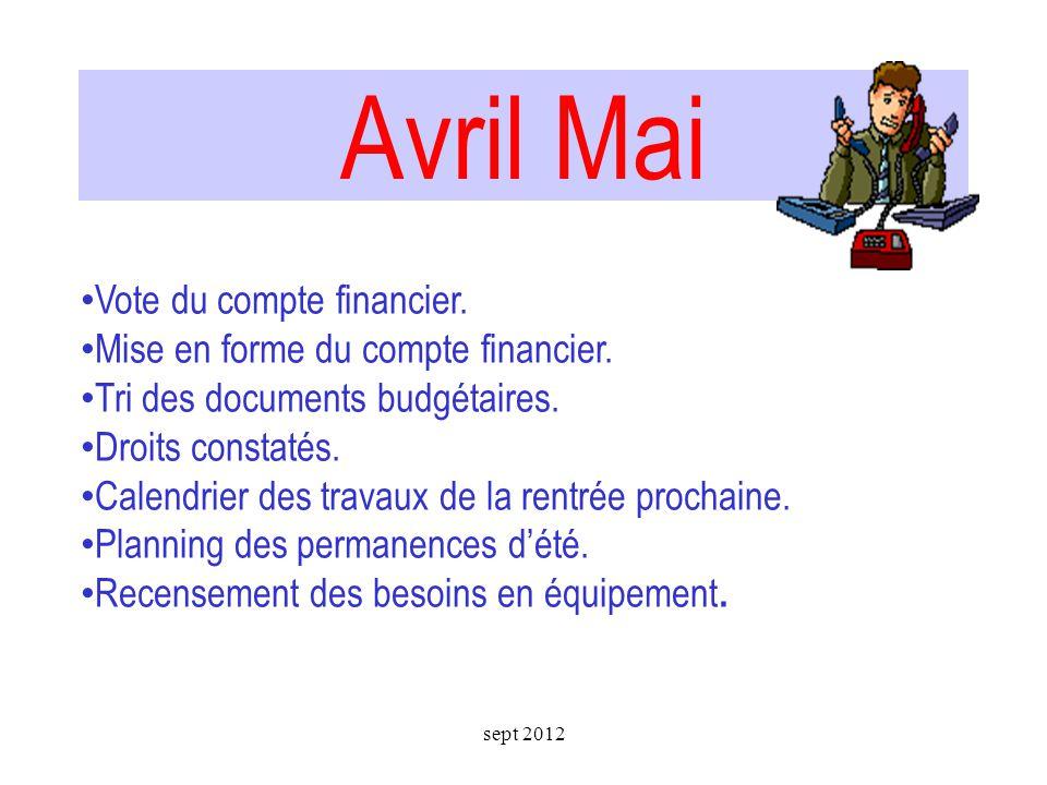 Compte financier 2012 Février et mars sept 2012