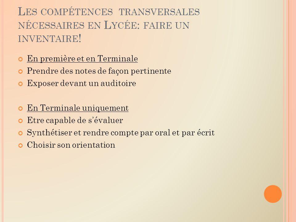 L ES COMPÉTENCES TRANSVERSALES NÉCESSAIRES EN L YCÉE : FAIRE UN INVENTAIRE .