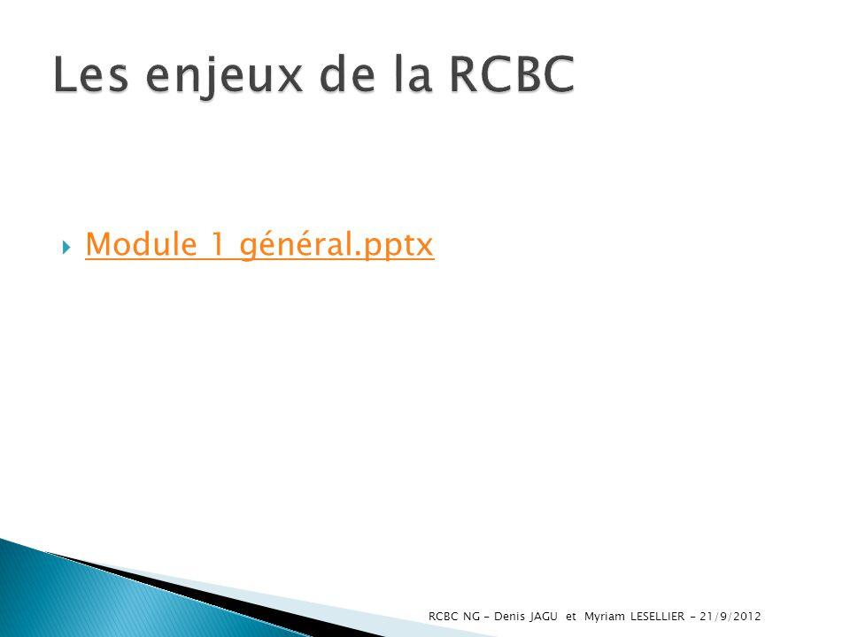 Module 1 général.pptx RCBC NG - Denis JAGU et Myriam LESELLIER - 21/9/2012
