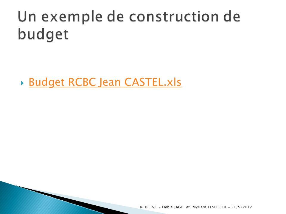 Budget RCBC Jean CASTEL.xls RCBC NG - Denis JAGU et Myriam LESELLIER - 21/9/2012