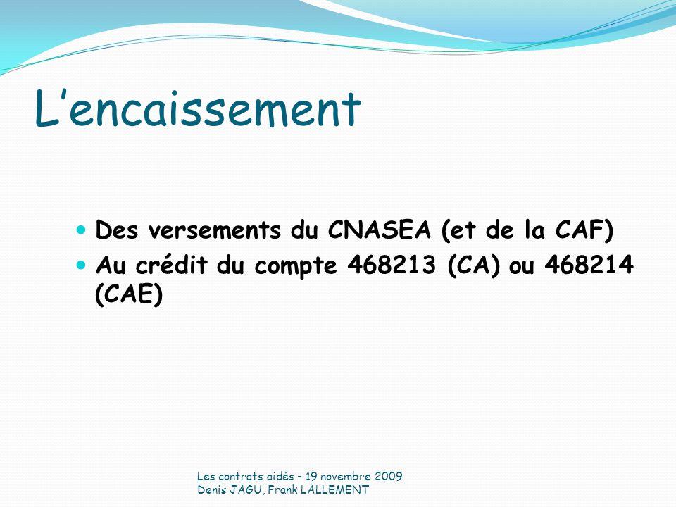 Lencaissement Des versements du CNASEA (et de la CAF) Au crédit du compte 468213 (CA) ou 468214 (CAE) Les contrats aidés - 19 novembre 2009 Denis JAGU, Frank LALLEMENT