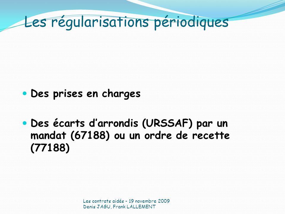 Des prises en charges Des écarts darrondis (URSSAF) par un mandat (67188) ou un ordre de recette (77188) Les contrats aidés - 19 novembre 2009 Denis J