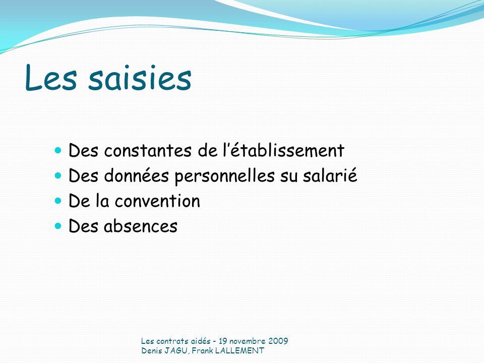 Les saisies Des constantes de létablissement Des données personnelles su salarié De la convention Des absences Les contrats aidés - 19 novembre 2009 D