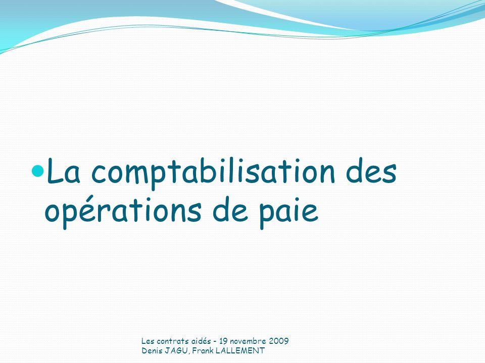 La comptabilisation des opérations de paie Les contrats aidés - 19 novembre 2009 Denis JAGU, Frank LALLEMENT