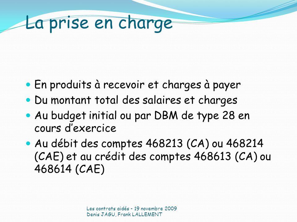 En produits à recevoir et charges à payer Du montant total des salaires et charges Au budget initial ou par DBM de type 28 en cours dexercice Au débit