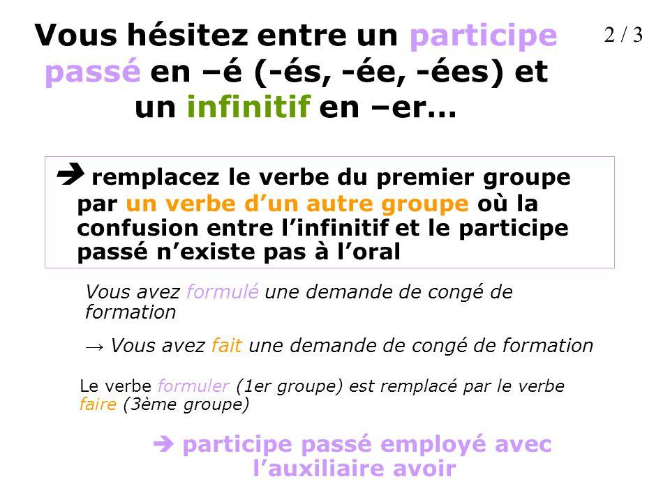 Vous hésitez entre un participe passé en –é (-és, -ée, -ées) et un infinitif en –er… remplacez le verbe du premier groupe par un verbe dun autre group