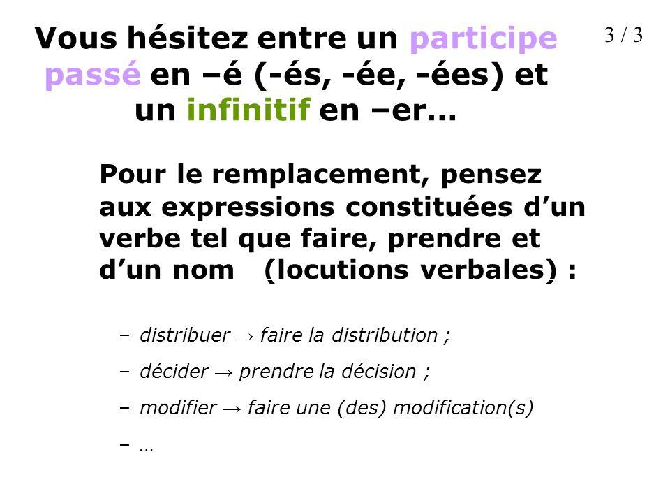 Vous hésitez entre un participe passé en –é (-és, -ée, -ées) et un infinitif en –er… Pour le remplacement, pensez aux expressions constituées dun verb