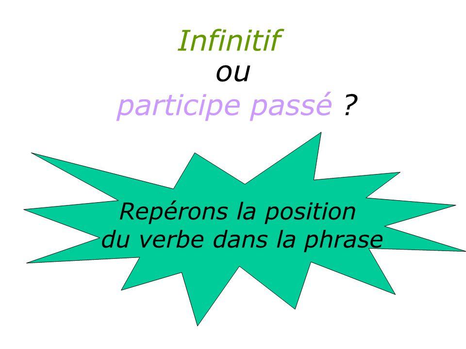 Infinitif Repérons la position du verbe dans la phrase ou participe passé ?