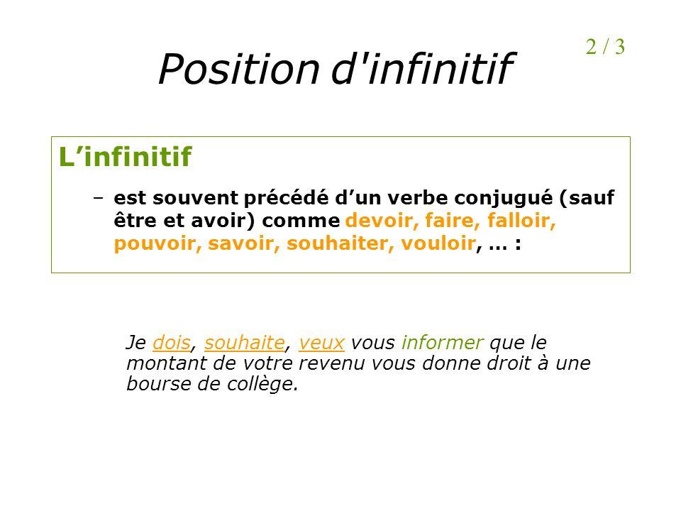 Position d'infinitif Linfinitif –est souvent précédé dun verbe conjugué (sauf être et avoir) comme devoir, faire, falloir, pouvoir, savoir, souhaiter,