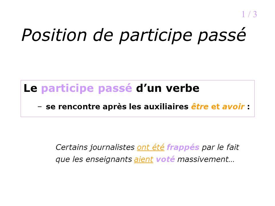 Position de participe passé Le participe passé dun verbe –se rencontre après les auxiliaires être et avoir : 1 / 3 Certains journalistes ont été frapp