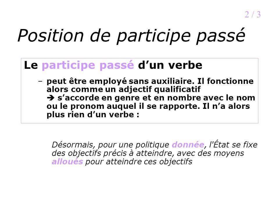 Position de participe passé Le participe passé dun verbe –peut être employé sans auxiliaire. Il fonctionne alors comme un adjectif qualificatif saccor