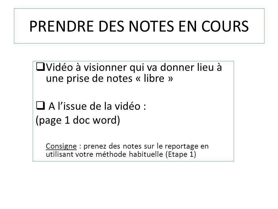 PRENDRE DES NOTES EN COURS Vidéo à visionner qui va donner lieu à une prise de notes « libre » A lissue de la vidéo : (page 1 doc word) Consigne : pre