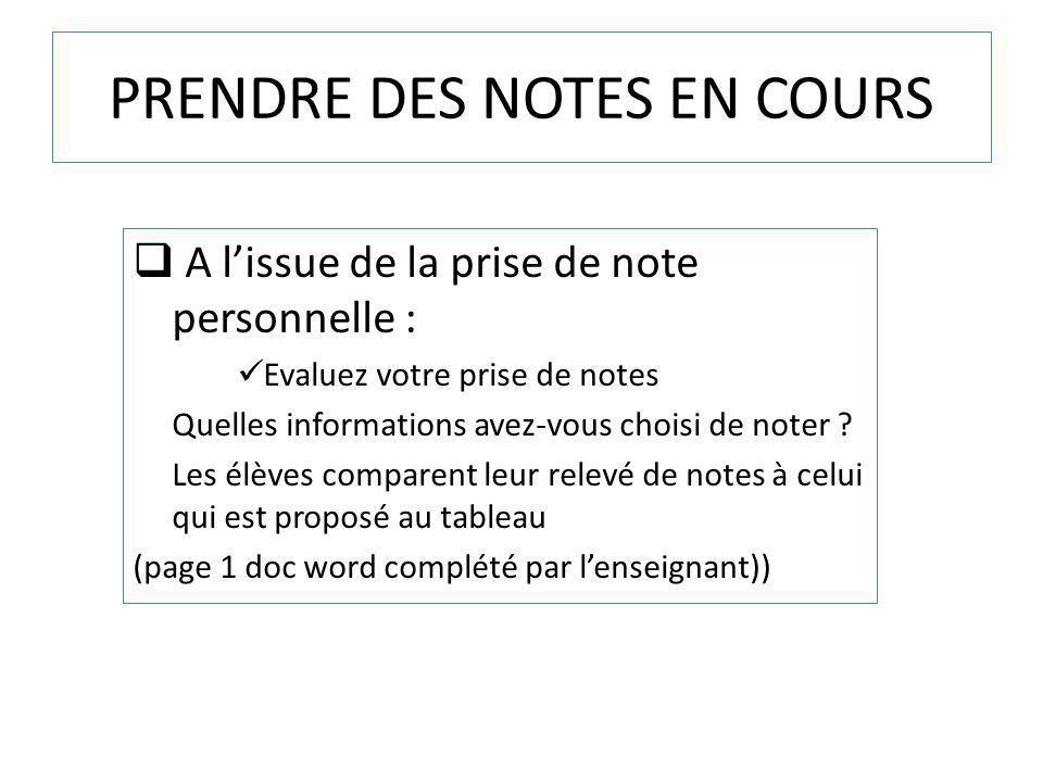 PRENDRE DES NOTES EN COURS A lissue de la prise de note personnelle : Evaluez votre prise de notes Quelles informations avez-vous choisi de noter ? Le