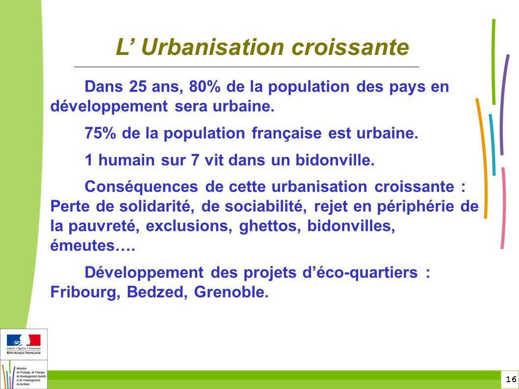 16 Dans 25 ans, 80% de la population des pays en développement sera urbaine. 75% de la population française est urbaine. 1 humain sur 7 vit dans un bi
