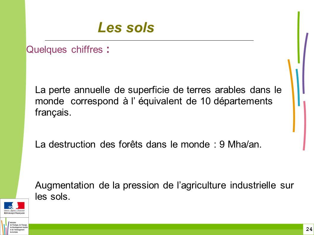 24 Les sols Quelques chiffres : La perte annuelle de superficie de terres arables dans le monde correspond à l équivalent de 10 départements français.