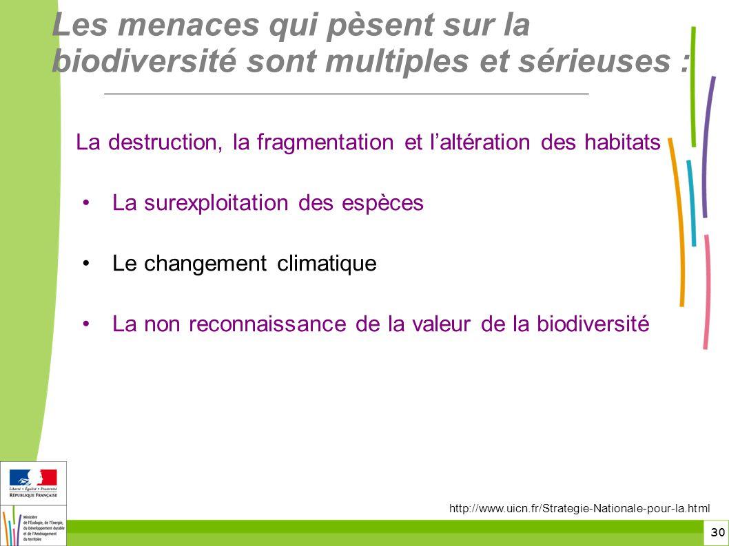 30 La destruction, la fragmentation et laltération des habitats La surexploitation des espèces Le changement climatique La non reconnaissance de la va