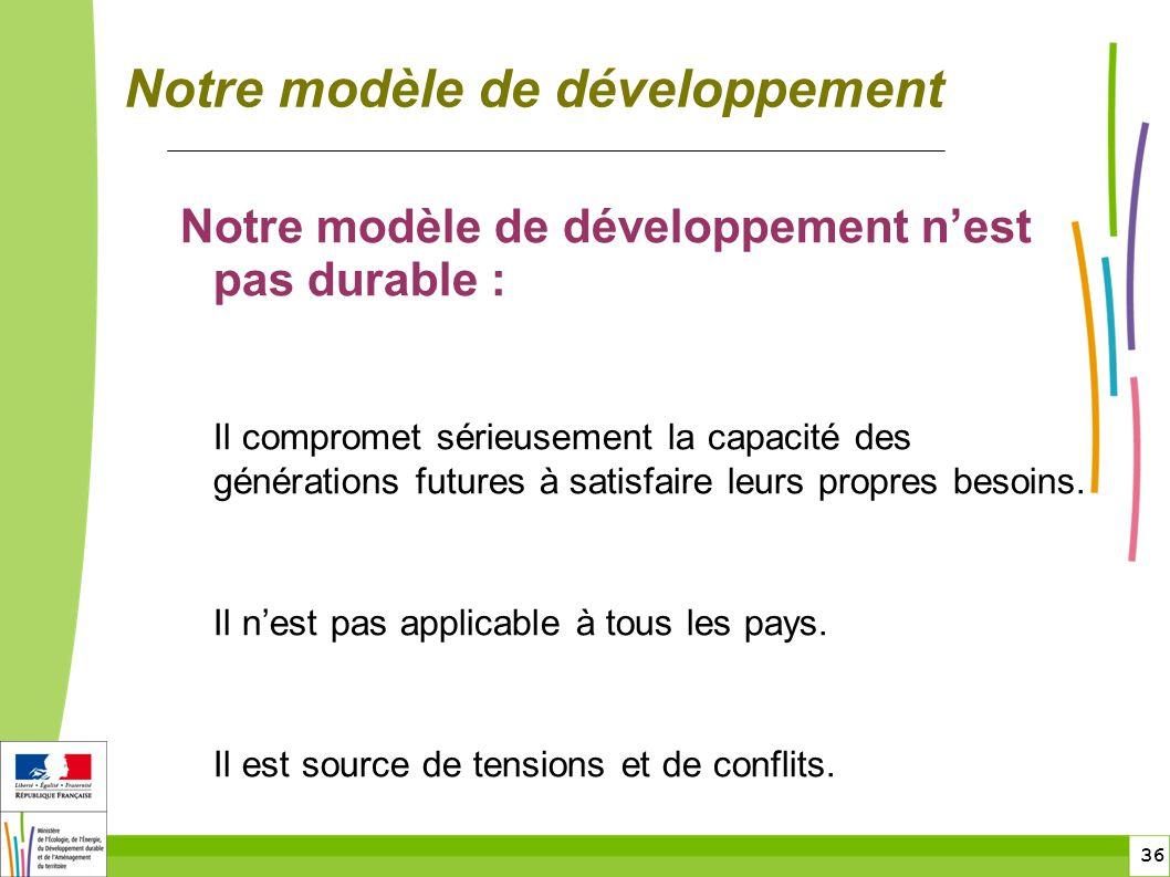 36 Notre modèle de développement Notre modèle de développement nest pas durable : Il compromet sérieusement la capacité des générations futures à satisfaire leurs propres besoins.
