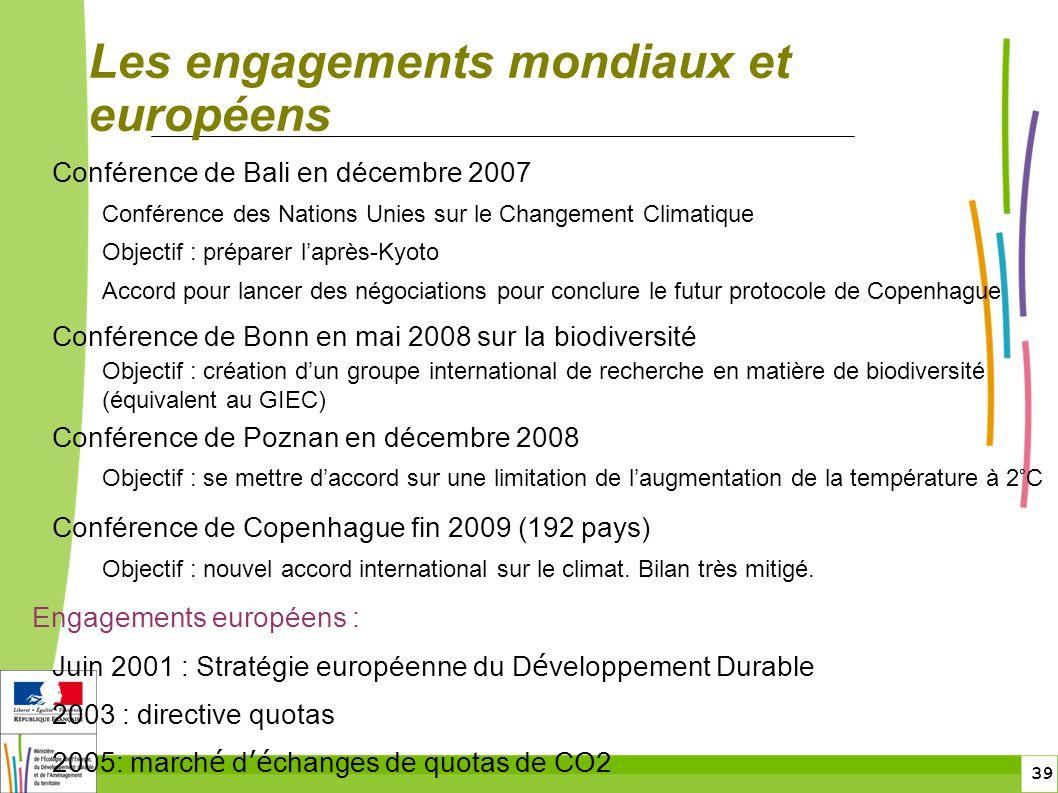 39 Les engagements mondiaux et européens Conférence de Bali en décembre 2007 Conférence des Nations Unies sur le Changement Climatique Objectif : prép