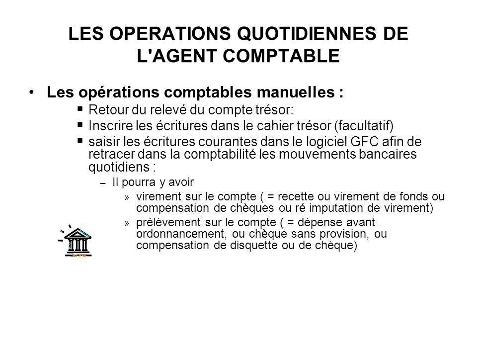 LES OPERATIONS QUOTIDIENNES DE L'AGENT COMPTABLE Les opérations comptables manuelles : Retour du relevé du compte trésor: Inscrire les écritures dans