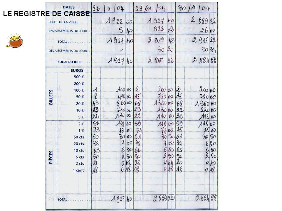 LE REGISTRE DE CAISSE