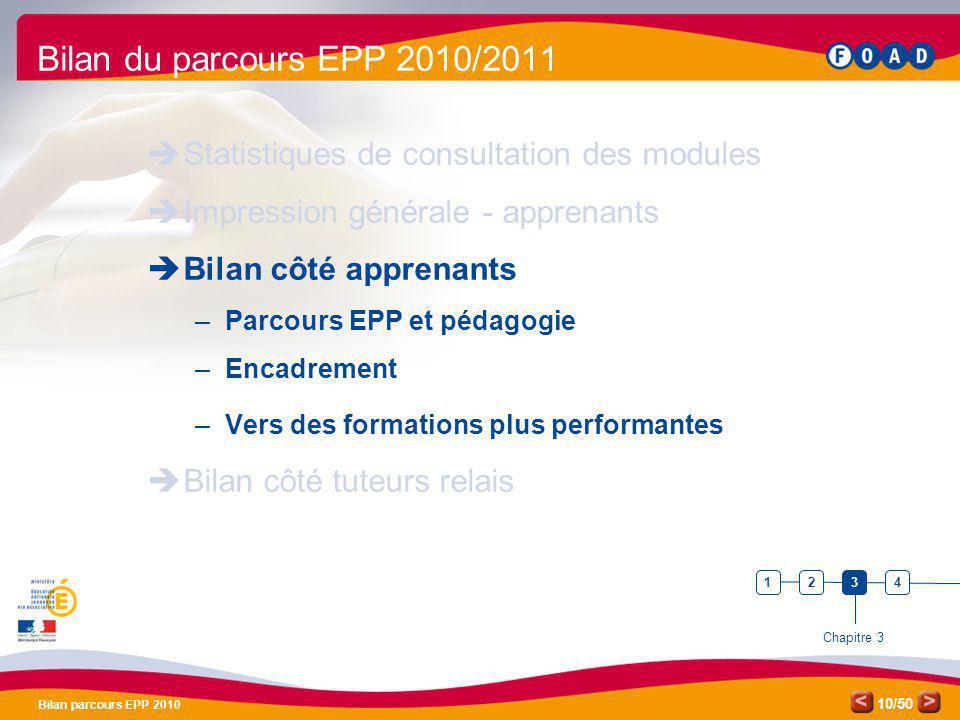 /50 Bilan parcours EPP 2010 10 Bilan du parcours EPP 2010/2011 Statistiques de consultation des modules Impression générale - apprenants Bilan côté ap