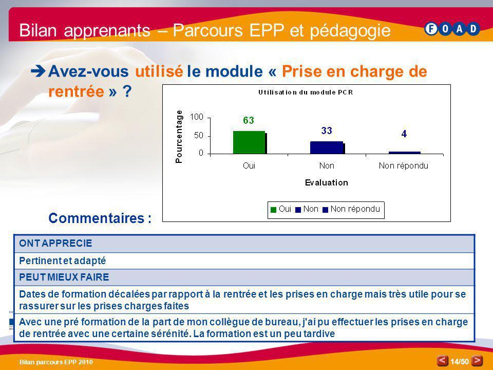 /50 Bilan parcours EPP 2010 14 Bilan apprenants – Parcours EPP et pédagogie Avez-vous utilisé le module « Prise en charge de rentrée » ? Commentaires