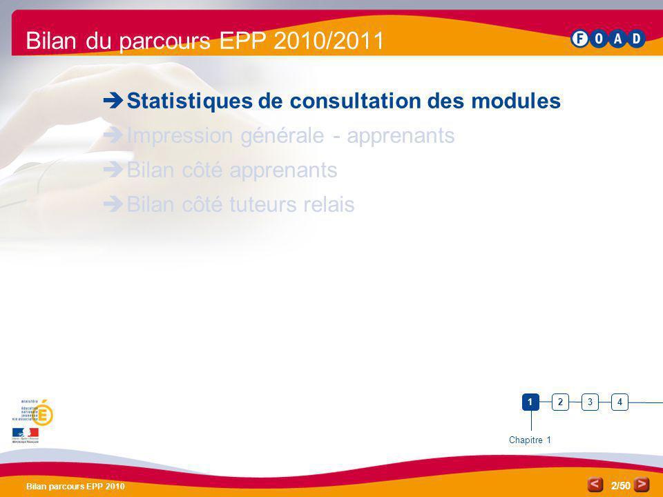 /50 Bilan parcours EPP 2010 2 Bilan du parcours EPP 2010/2011 Statistiques de consultation des modules Impression générale - apprenants Bilan côté app