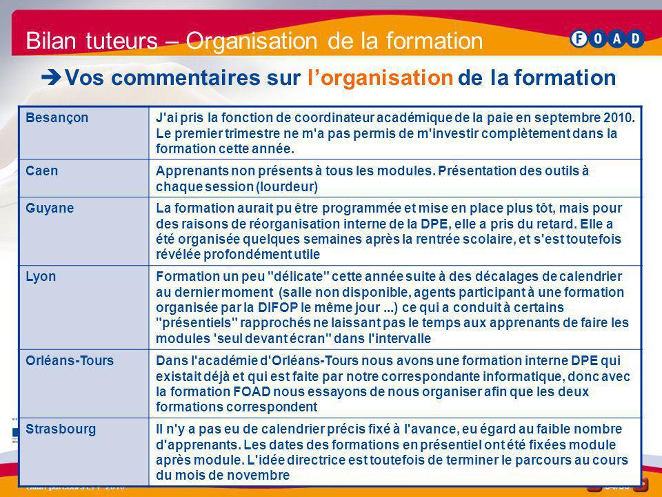 /50 Bilan parcours EPP 2010 34 Bilan tuteurs – Organisation de la formation Vos commentaires sur lorganisation de la formation BesançonJ'ai pris la fo
