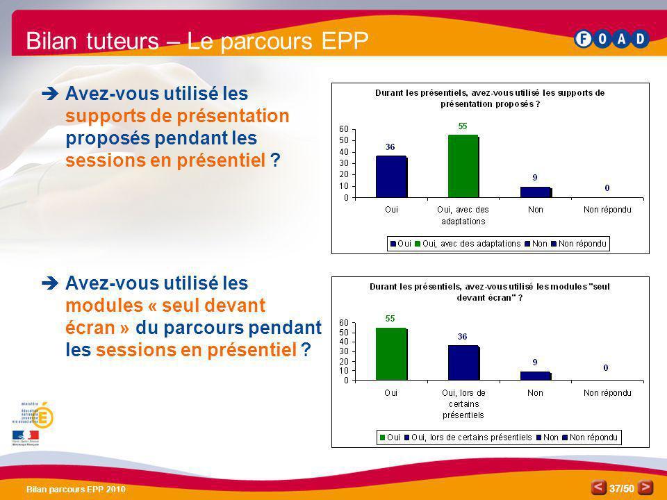 /50 Bilan parcours EPP 2010 37 Bilan tuteurs – Le parcours EPP Avez-vous utilisé les supports de présentation proposés pendant les sessions en présent