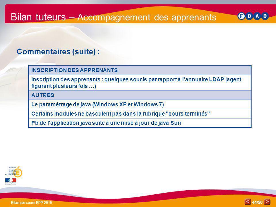 /50 Bilan parcours EPP 2010 44 Bilan tuteurs – Accompagnement des apprenants Commentaires (suite) : INSCRIPTION DES APPRENANTS Inscription des apprena