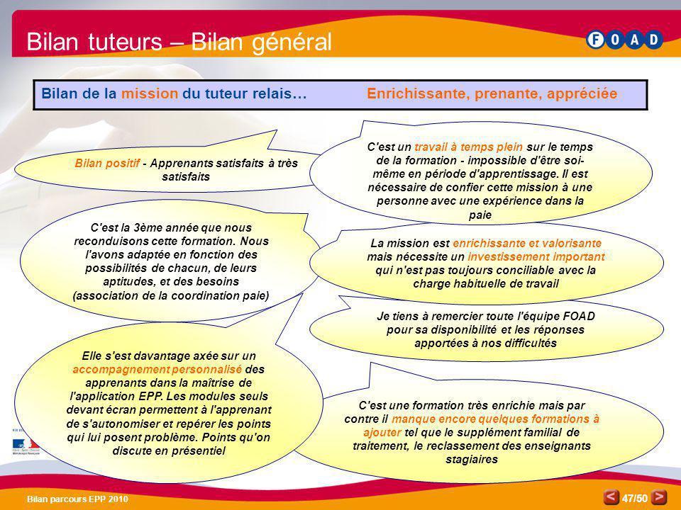 /50 Bilan parcours EPP 2010 47 Je tiens à remercier toute l'équipe FOAD pour sa disponibilité et les réponses apportées à nos difficultés C'est la 3èm