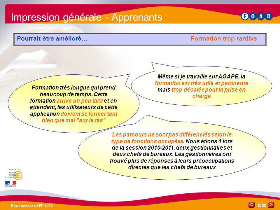 /50 Bilan parcours EPP 2010 8 Les parcours ne sont pas différenciés selon le type de fonctions occupées. Nous étions 4 lors de la session 2010-2011, d