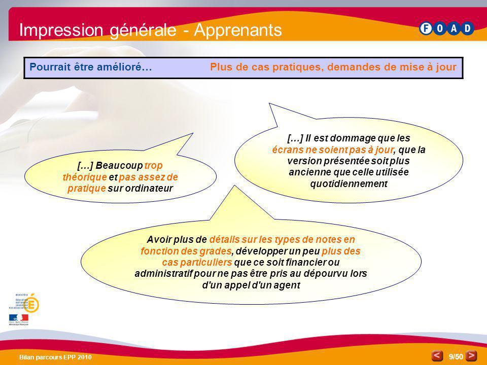 /50 Bilan parcours EPP 2010 9 Impression générale - Apprenants Pourrait être amélioré… Plus de cas pratiques, demandes de mise à jour […] Beaucoup tro