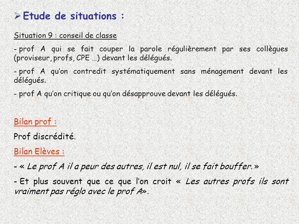 Etude de situations : Situation 9 : conseil de classe - prof A qui se fait couper la parole régulièrement par ses collègues (proviseur, profs, CPE …) devant les délégués.