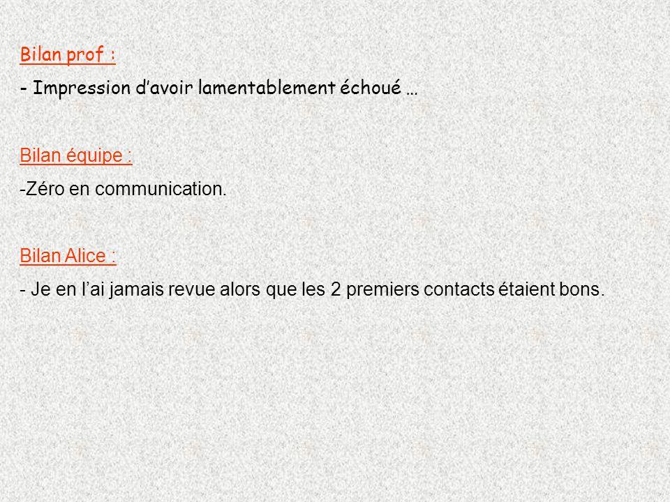 Bilan prof : - Impression davoir lamentablement échoué … Bilan équipe : -Zéro en communication.