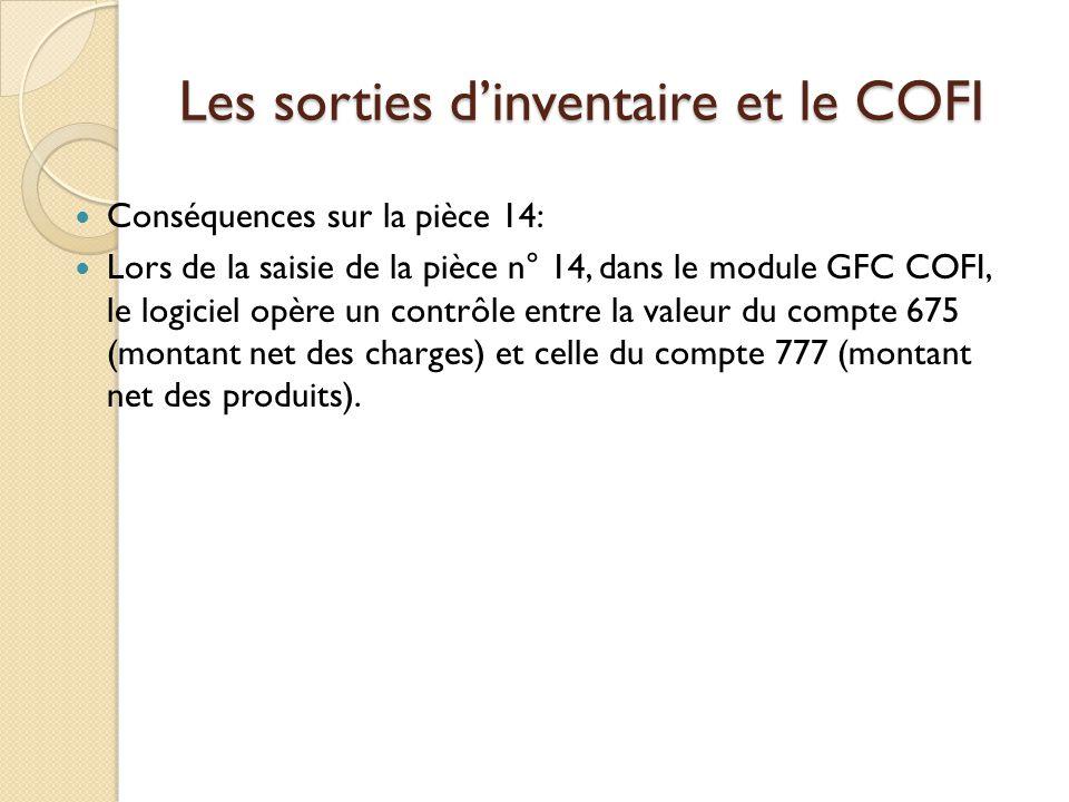Les sorties dinventaire et le COFI Conséquences sur la pièce 14: Lors de la saisie de la pièce n° 14, dans le module GFC COFI, le logiciel opère un co