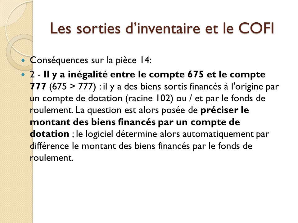 Les sorties dinventaire et le COFI Conséquences sur la pièce 14: 2 - Il y a inégalité entre le compte 675 et le compte 777 (675 > 777) : il y a des bi